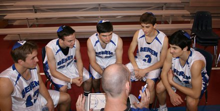 Beren Academy team from left to right: Isaac Mirwis, Isaac Buchine, Ahron Guttman, Yair Miller and Zach Yoshor with coach Chris Cole.