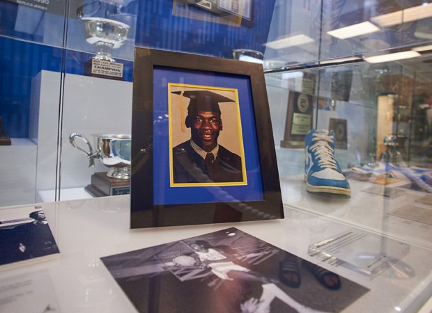 A high school graduation photo of Michael Jordan is on display in the front lobby of the gym.