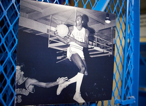 A photo showing Michael Jordan in action during his high school playing days was on display in the locker room.