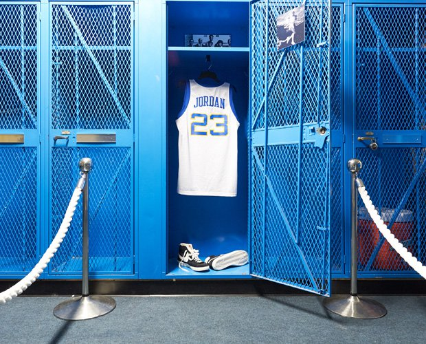 A Michael Jordan high school replica jersey was on display in the school's locker room during a recent basketball tournament.
