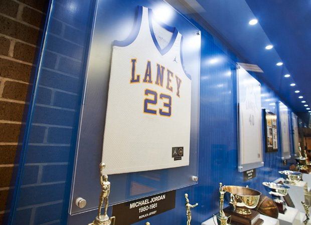 A Michael Jordan high school replica jersey is on display in the front lobby of the gym.