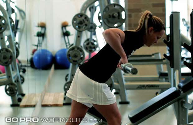 U.S. women's soccer team star Christie Rampone demonstrates rows during a Go Pro Workout.