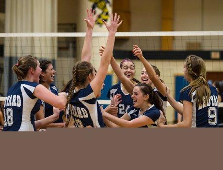Ledyard celebrates its first CIAC Class M girls volleyball title on Saturday.