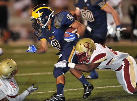 John Nguyen (9) wouldn't be denied most of the night and rushed for two TDs, including the clincher.