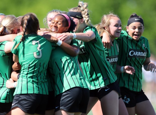 Southlake Carroll celebrates after beating Tompkins to win its second state title since 2008.