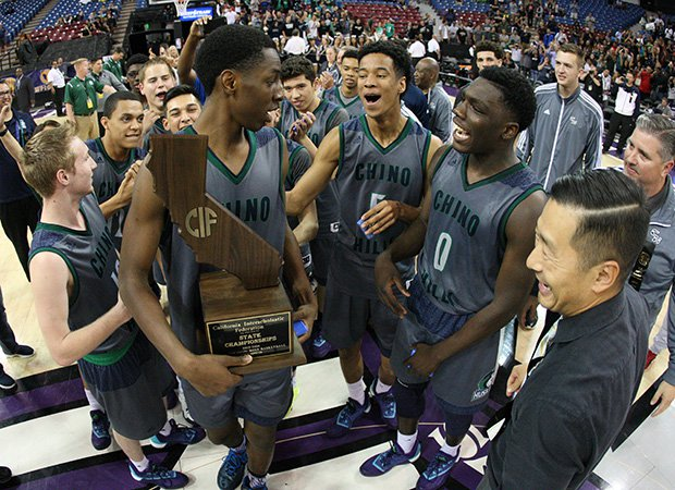 Chino Hills freshman center Onyeka Okongwu gets his moment with the state championship trophy.