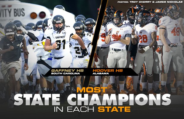 Most High School Football State Championships In Each State Maxpreps