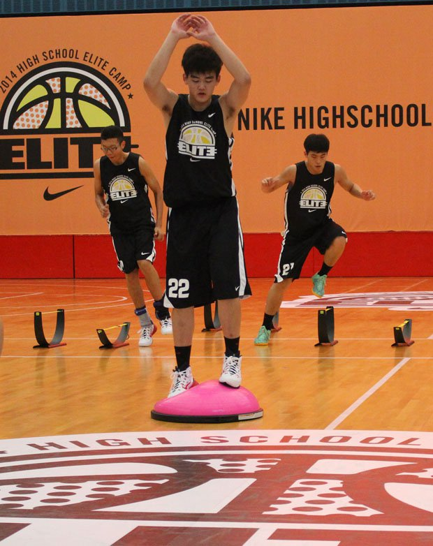 Players condition at the Nike High School Elite Camp in Shanghai.