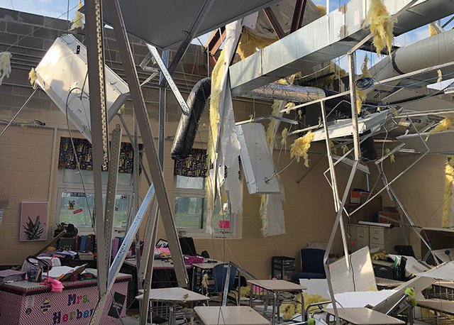 A look at the tornado damage suffered by Brookville High School.