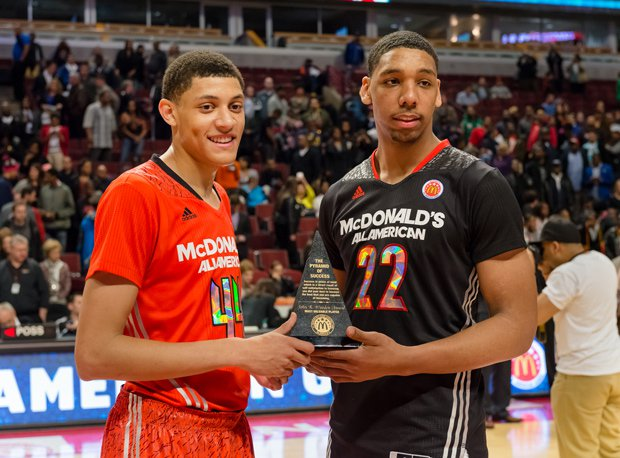 Justin Jackson, left, and Jahlil Okafor earned co-MVP honors Wednesday at the McDonald's All American Game in Chicago.