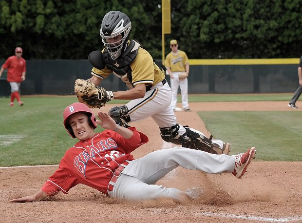 TJ Hormel of Buchanan beats the ball to the plate in a recent game against El Dorado.