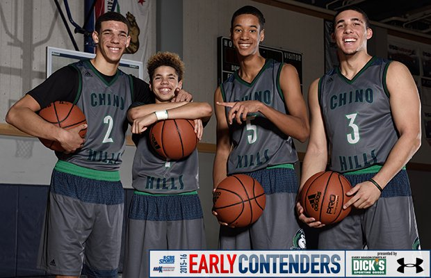 The Chino Hills varsity roster this season includes four Ball family members. Cousin Andre Ball (third from the left) is joined by brothers (left to right) Lonzo, LaMelo and LiAngelo.