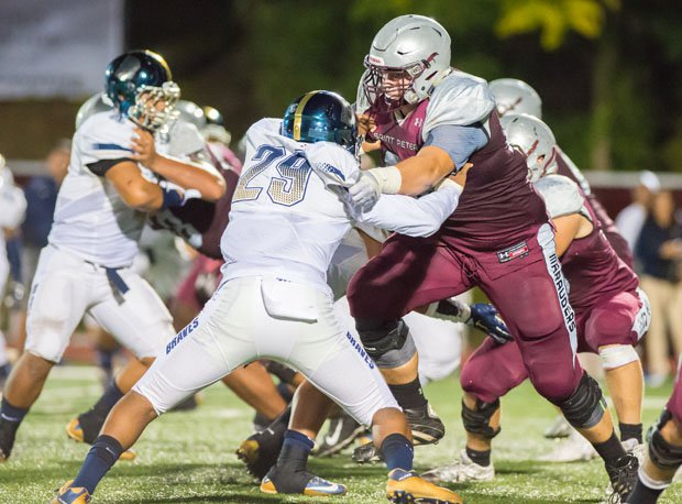 St. Peter's Prep offensive lineman Ben Petrula (right) is ranked the 326th top recruit in the country overall for the Class of 2017 by 247Sports.