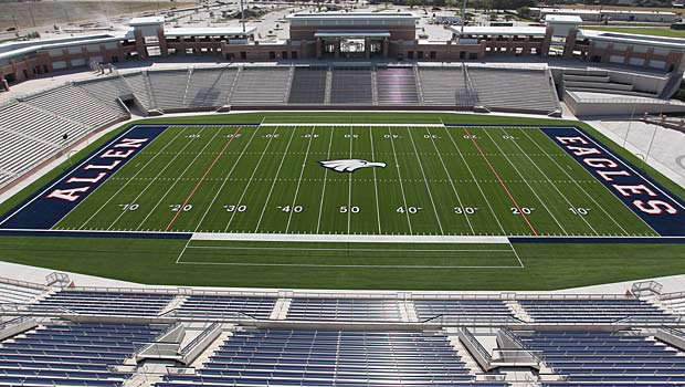 The new Eagle Stadium will seat 18,000 fans. The home side will have 9,000 seats, including 1,000 set aside for the Escadrille (band and color guard), 4,000 in the end zone for students and 5,000 seats for the visiting section.