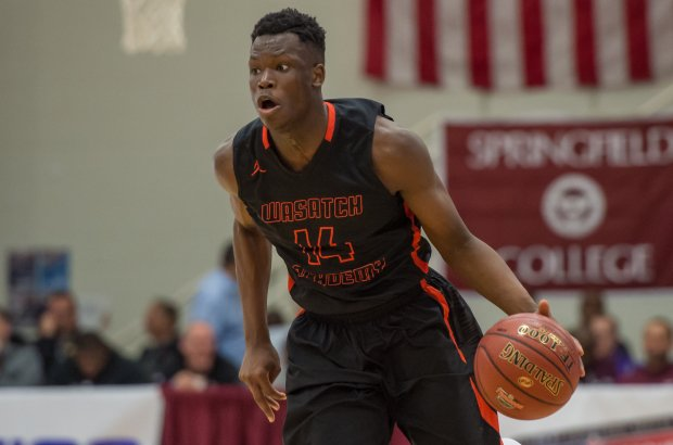 Emmanuel Akot in action at the Spalding Hoophall Classic in January.