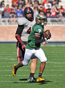 DeSoto receiver Rickey Daniels is heading to the end zone after the fine catch.