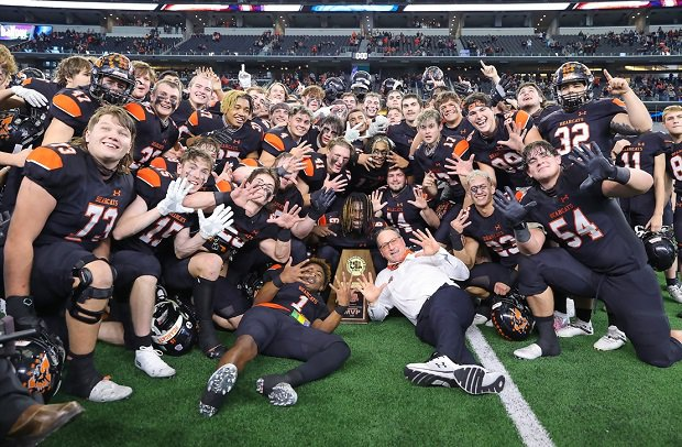 Aledo celebrates its 10th Texas state title last year. The Bearcats also own the highest-scoring season in high school football history with 1,023 points in 2013.