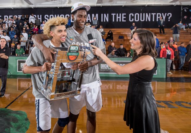 MaxPreps All-Americans Brian Bowen (left) and Jaren Jackson celebrate after winning the Dick's Nationals championship game.