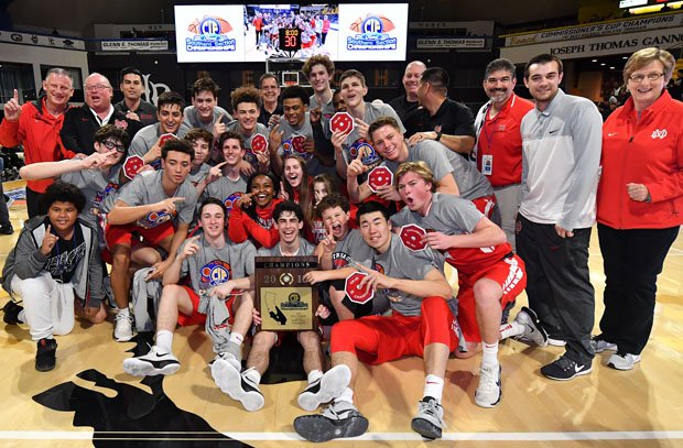 Mater Dei celebrates its 23rd Southern Section boys basketball title.