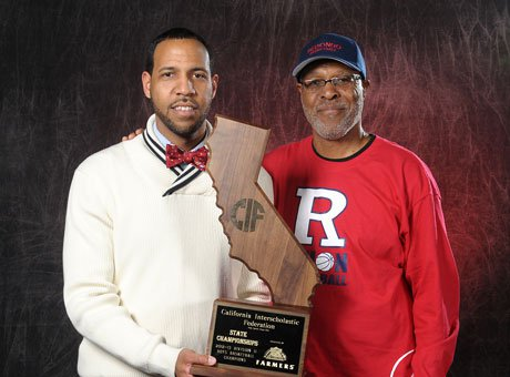 Reggie Morris Jr., left, and his father Reggie Morris Sr. are the only father-son pair to win California basketball state titles.