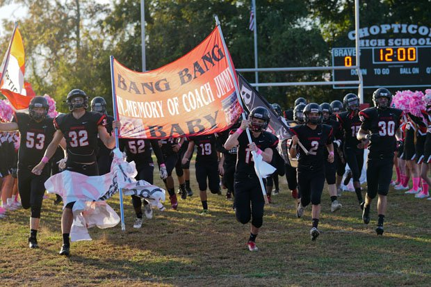 The Braves taking the field before a big home game with Leonardtown. Chopticon won 49-16.