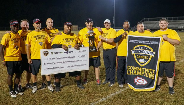 The Chopticon coaching staff proudly pose with the 2017 Touchdowns Against Cancer National Champions trophy, Community Champions banner and the oversized check presented to St. Jude Children's Research Hospital.