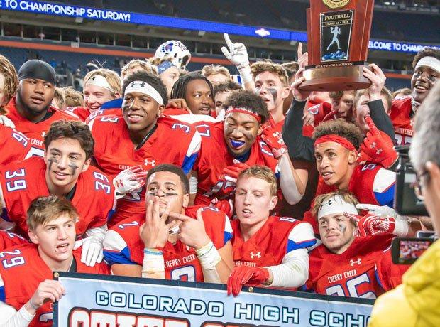Cherry Creek celebrating its 2019 5A state championship.