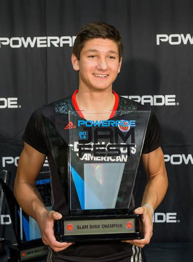 Providence (Jacksonville, Fla.) senior Grayson Allen holds up the hardware for winning the prestigious slam dunk contest in the Powerade Jam Fest Monday in conjunction with the McDonald's All-American game. The skills and dunk contest took place at the University of Chicago. The games will be played Wednesday at the United Center.