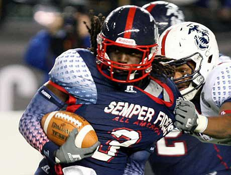 Alex Collins from South Plantation (Fla.) is the nation's top running back. He's currently uncommitted.