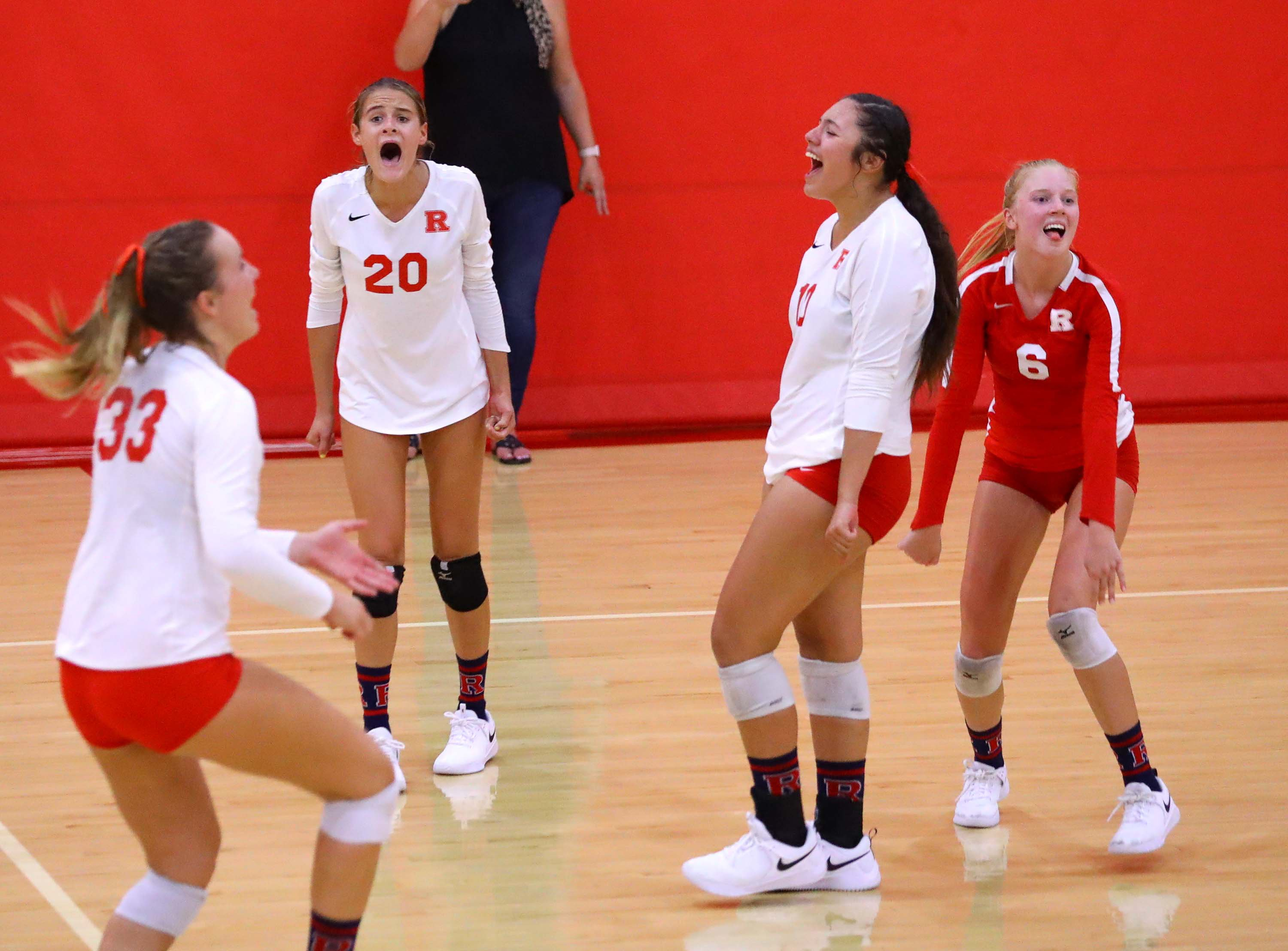 Redondo Union celebrates during its five-set, come-from-behind victory last week over Mater Dei.
