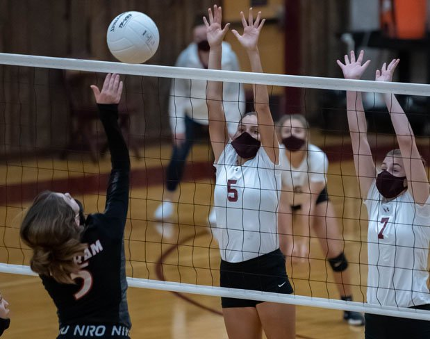 Some volleyball players are choosing to wear masks.