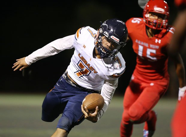 Evan Olaes, the first-team All-State all-purpose standout and dual threat quarterback for Legacy (North Las Vegas) led the state in passing yards and rushed for more than 1,000 yards.