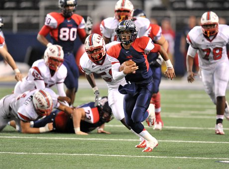 Allen quarterback Kyler Murray rushed for two long touchdowns in the first half and finished with 143 yards rushing.