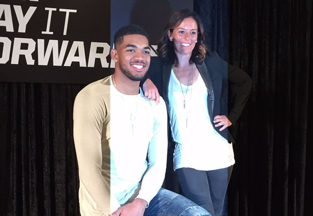 "Karl-Anthony Towns and April Ross head up the new Gatorade ""Play it Forward"" program."