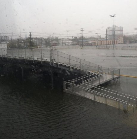 Wildwood (N.J.) High School's football field could hold a swim practice this morning as Hurricane Sandy continues to hammer the region with rain.