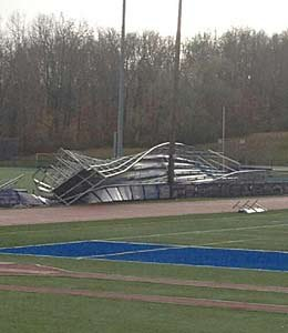 The visitors grandstands at Brookfield (Conn.) were demolished by Sandy.