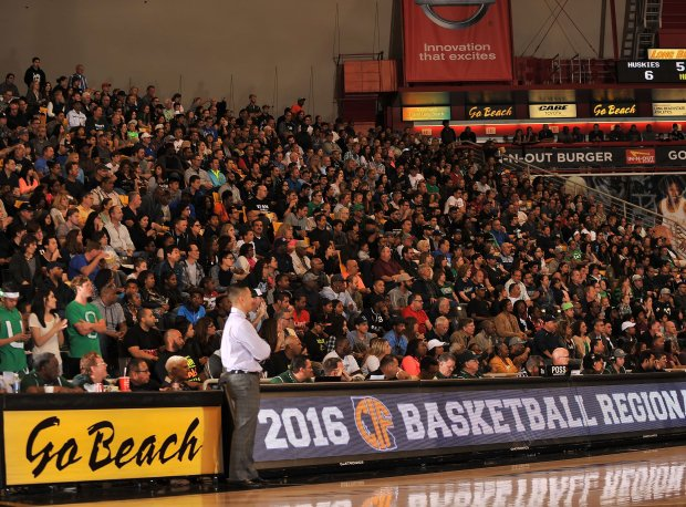 Chino Hills head coach Steve Baik looks on in front of a packed house in Long Beach.