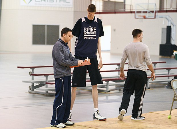 Bobroczky receives instruction from SPIRE Institute head coach John Kopcso during practice on Wednesday.