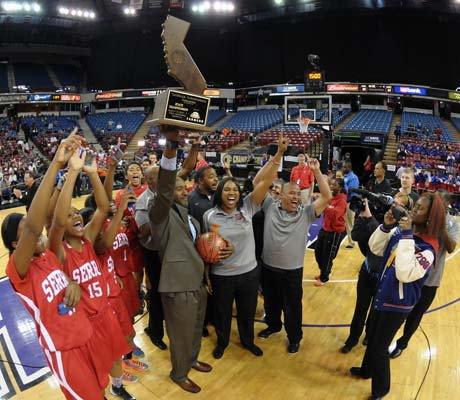 Serra celebrates its first state girls championship after a 62-60 win over Salesian Saturday at Sleep Train Arena in Sacramento.