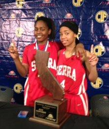 Serra state champions Siera Thompson (l) and Deandrea Toler.