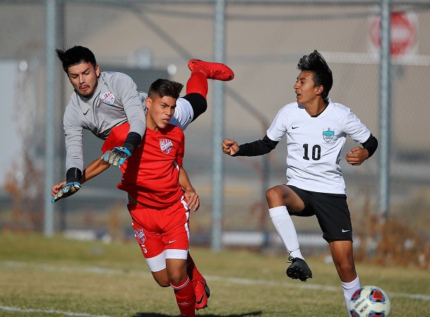 Western (red jersey) battles in a semifinal game on its way to a Nevada 3A boys soccer title.