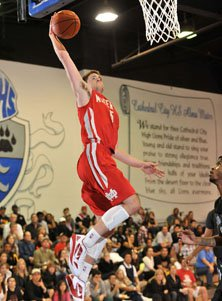 Katin Reinhardt missed this dunk attempt but it was about the only thing he missed all night.