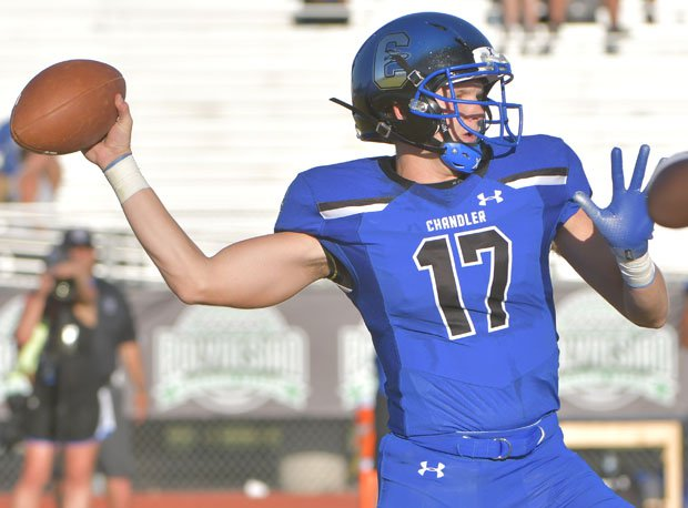 Jacob Conover with one of his five touchdown passes.