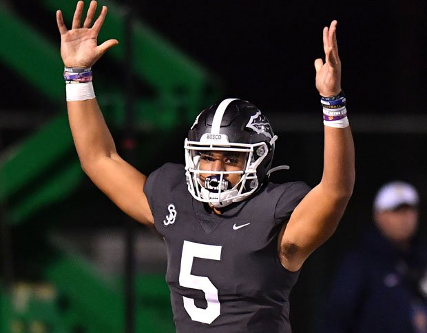 DJ Uiagalelei celebrates one last victory to close out his high school career.