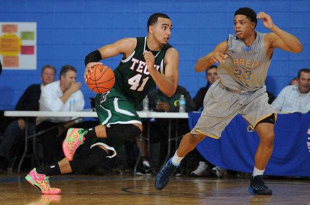 Trey Lyles has led Arsenal Tech to a pair of wins over preseason No. 4 Huntington St. Joseph Prep, including this meeting at the Marshall County Hoopfest.