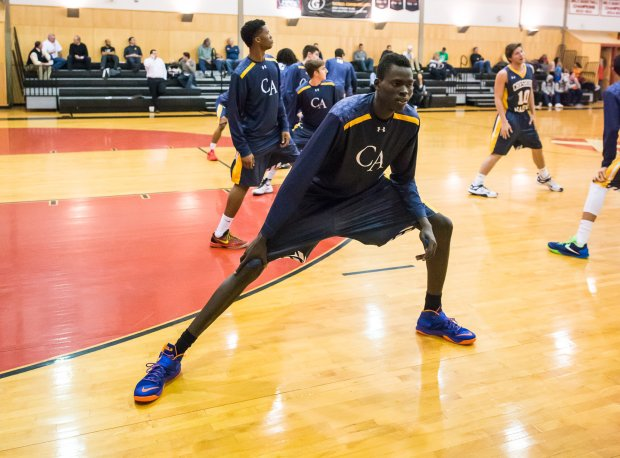 Cheshire Academy freshman Chol Marial warms up for a December game against Brimmer & May.