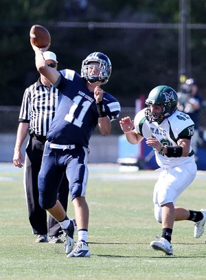 Morgan Mahalak threw for more than 200 yards and accounted for five touchdowns in Saturday's 49-14 at San Marin.