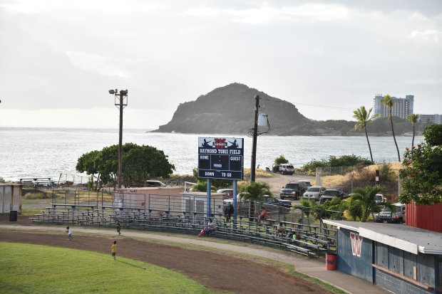 A wayward punt could end up in the Pacific Ocean at Raymond Torii Stadium in Hawaii. The venue is home to the Wai'anae Seariders.