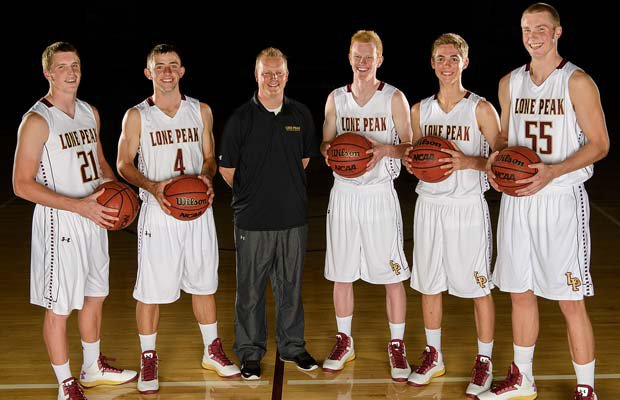 Lone Peak head coach Quincy Lewis has four returning starters among his top five players (left to right): Talon Shumway, Nick Emery, T.J. Haws, Connor Toolson and Eric Mika, who had to sit out last season after transferring.
