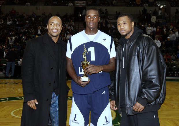 Three-time All-American Lance Stephenson with Jay Williams and Dajuan Wagner at the 2008 Primetime Shootout.